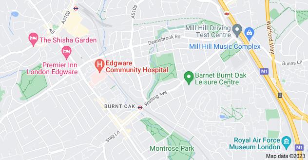 Map of Burnt Oak, Edgware HA8 0RA