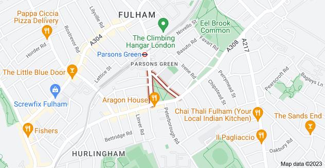 Map of Parsons Green, Fulham, London SW6 4UJ