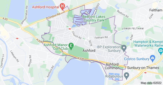 Map of Ashford TW15
