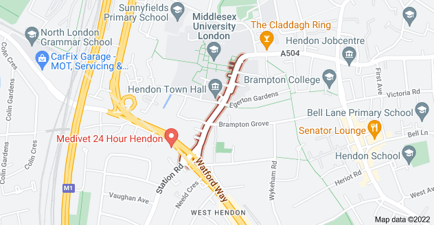 Map of The Burroughs, London NW4