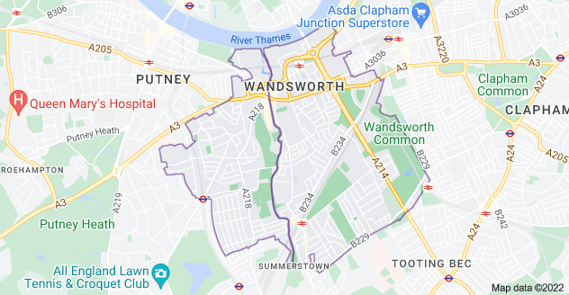 Map of London SW18