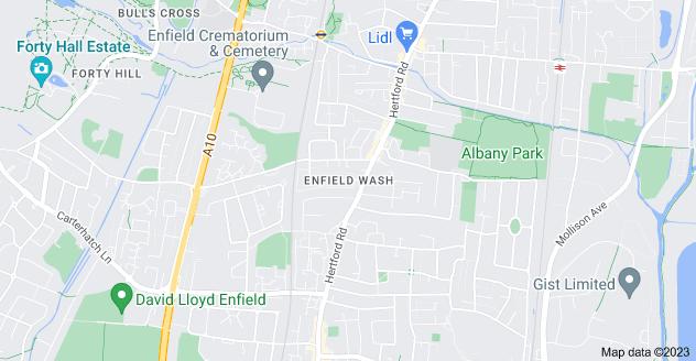 Map of Enfield Wash, Enfield EN3 5QD