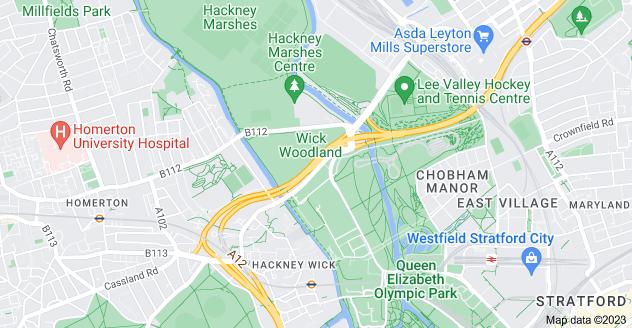 Map of Hackney Wick, London E9 5EF