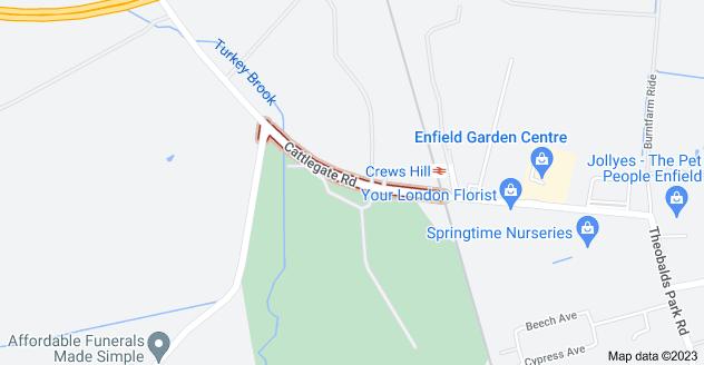 Map of Crews Hill, Enfield EN2 8AY