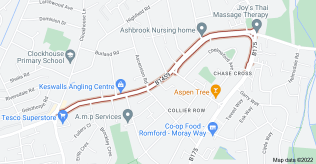 Map of Chase Cross Rd, Romford RM5 3PR