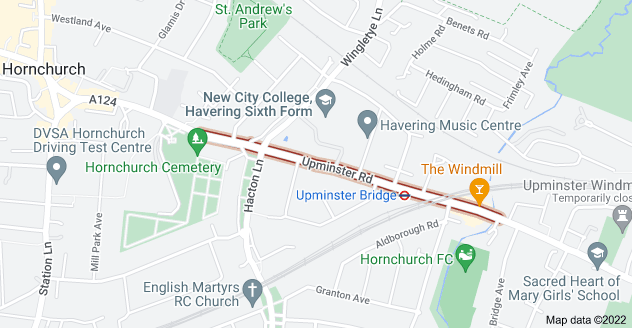 Map of Upminster Rd, Hornchurch RM12