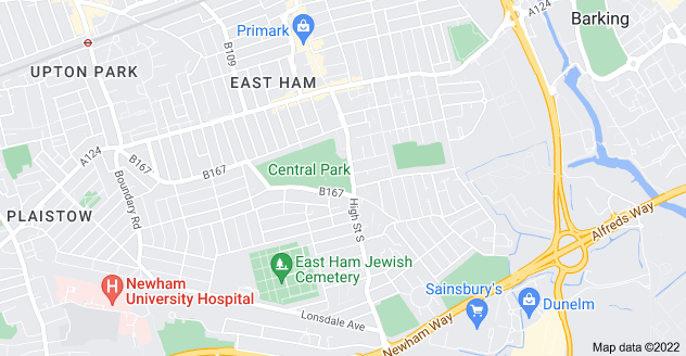 Map of East Ham, London E6 3HN