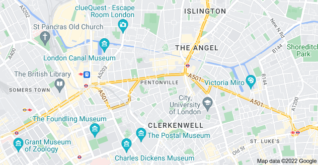 Map of Pentonville, London N1 9LY
