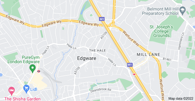 Map of The Hale, Edgware, London NW7 3GJ