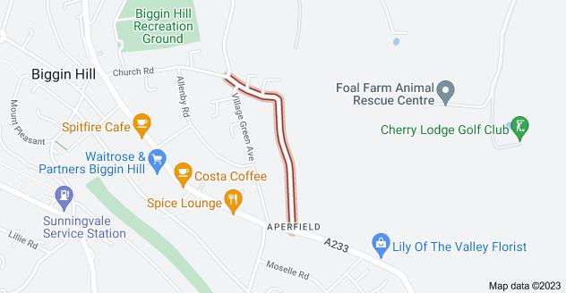 Map of Aperfield Rd, Biggin Hill, Westerham TN16 3LX
