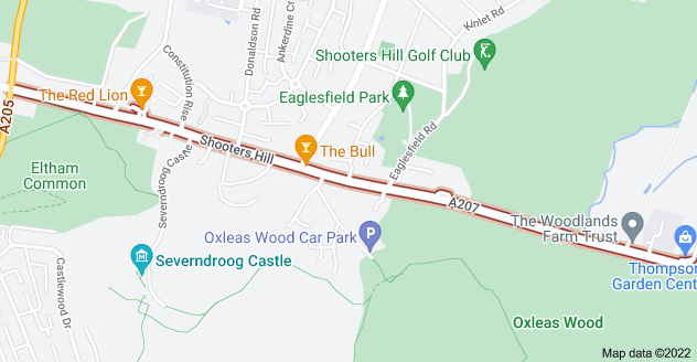 Map of Shooters Hill, Welling DA16 3RP