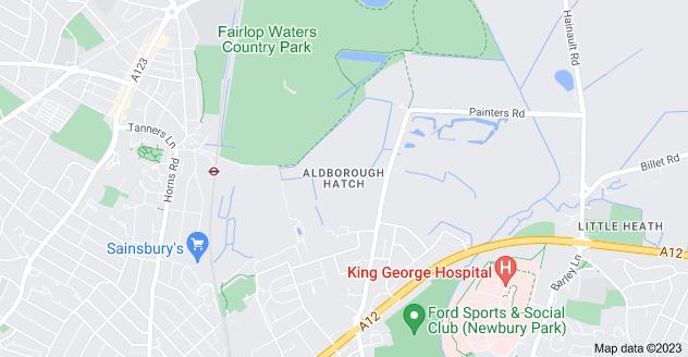 Map of Aldborough Hatch, Ilford IG2 7TD