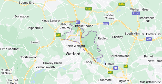 Map of Watford WD25