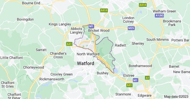 Map of Watford WD25