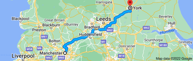 Map from Manchester to York