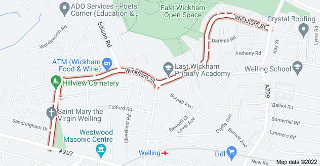 Map of Wickham St, Welling DA16 3BZ
