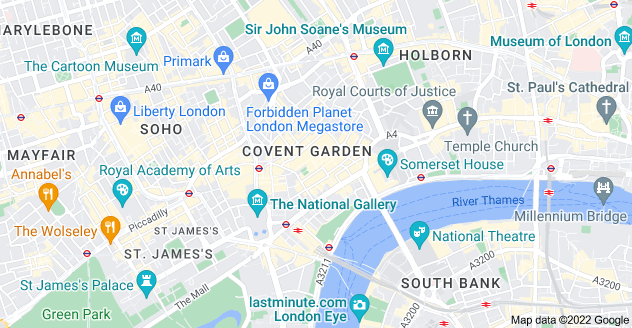 Map of Covent Garden, London WC2E 8BE