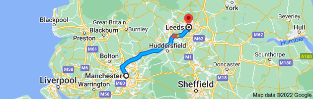 Map from Manchester to Leeds