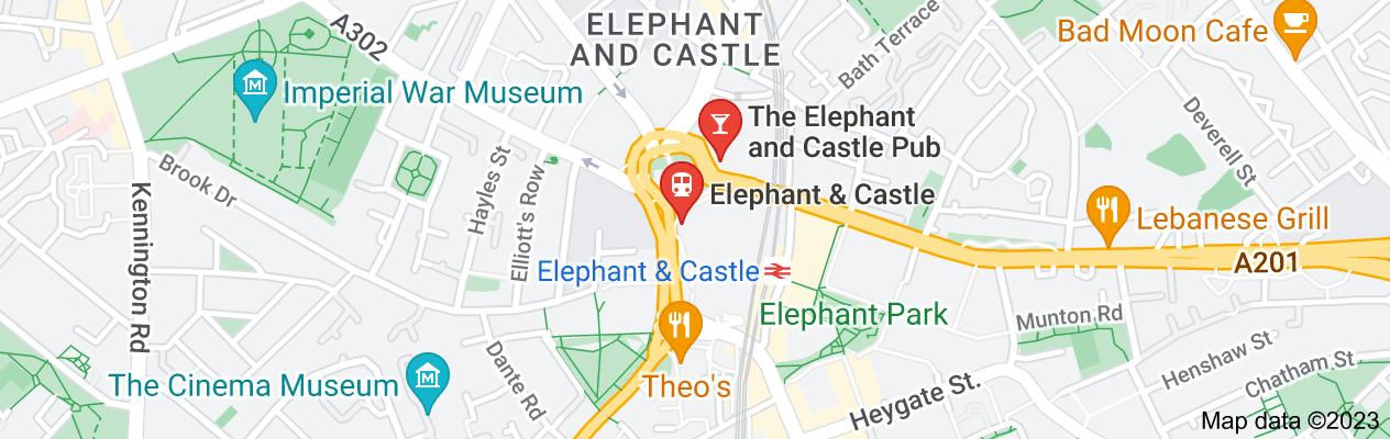 Map of map of Elephant and Castle, SE1, SE11, SE17
