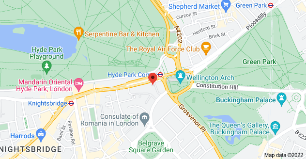 Map of 1 Knightsbridge, Belgravia, London SW1X 7LX
