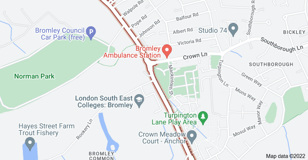 Map of Bromley Common, Bromley