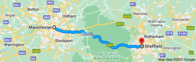 Map from Manchester to Sheffield