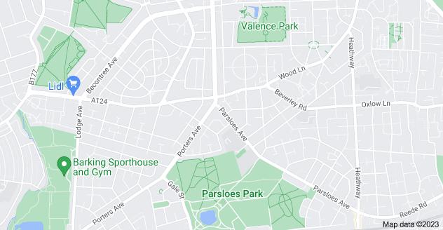 Map of Becontree, Dagenham RM9 5QR