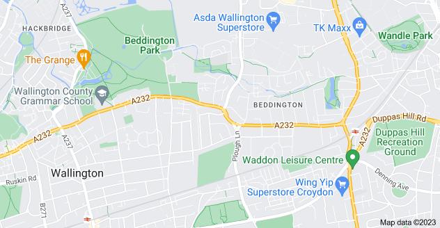 Map of Beddington, Wallington SM6 8JD