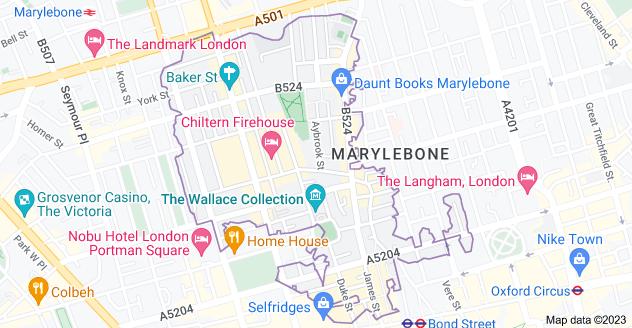 Map of Marylebone, London W1U