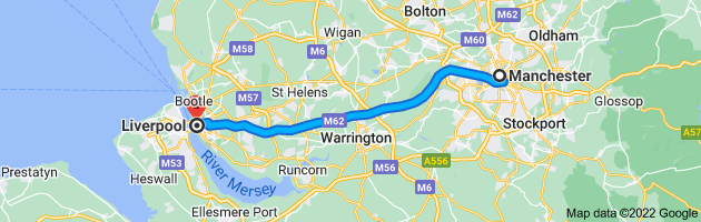 Map from Manchester to Liverpool