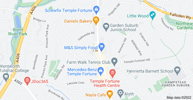 Map of Temple Fortune Parade, London NW11 0QS