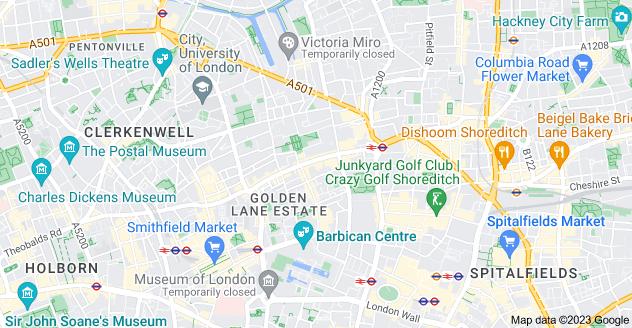 Map of St. Luke's, London EC1V 9BD