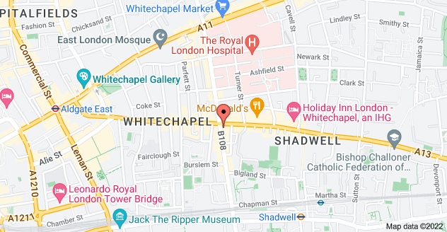 Map of 162 Commercial Rd, Whitechapel, London E1 2JY