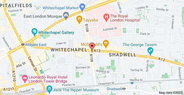 Map of 162 Commercial Rd, Whitechapel, London E1 2JY