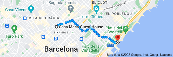 Map from Casa Maca Guest House, Carrer del Bruc, 146, 08037 Barcelona, Spain to Nova Icaria Beach, Passeig Marítim de la Nova Icària, 08005 Barcelona, Spain