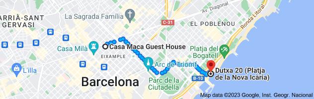 Map from Casa Maca Guest House, Carrer del Bruc, 146, 08037 Barcelona, Spain to Nova Icaria Beach, Passeig Marítim de la Nova Icària, 08005 Barcelona, Spain