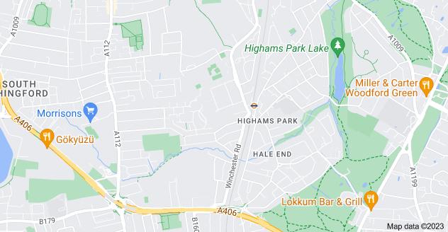 Map of Highams Park, London E4 9LR