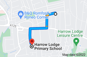 Map to Wykeham Primary School, 36 Shelley Ave, Hornchurch RM12 4BT