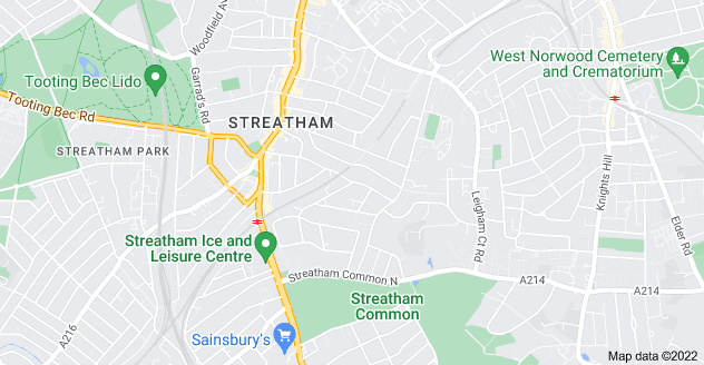 Map of Streatham, London SW16 2BQ