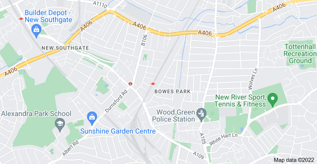 Map of Bowes Park, London N22 8YR