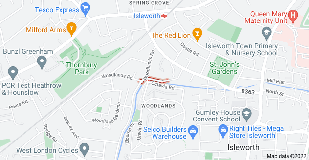 Map of The Woodlands, Isleworth TW7 6NZ