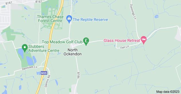 Map of North Ockendon, Upminster