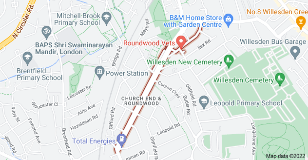Map of Church Rd, Church End & Roundwood, London NW10
