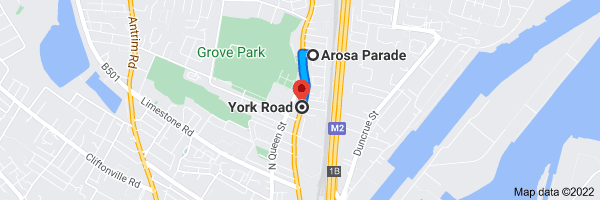 Map from Arosa Parade, Belfast to York Rd, Belfast
