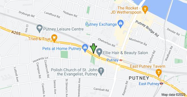 Map of 278 Upper Richmond Rd, London SW15 6TQ