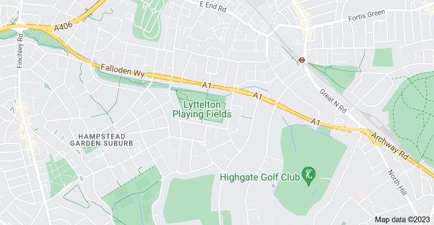 Map of Hampstead Garden Suburb, London N2 0RE