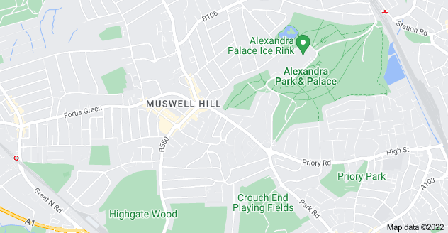 Map of Muswell Hill, London N10 3PP
